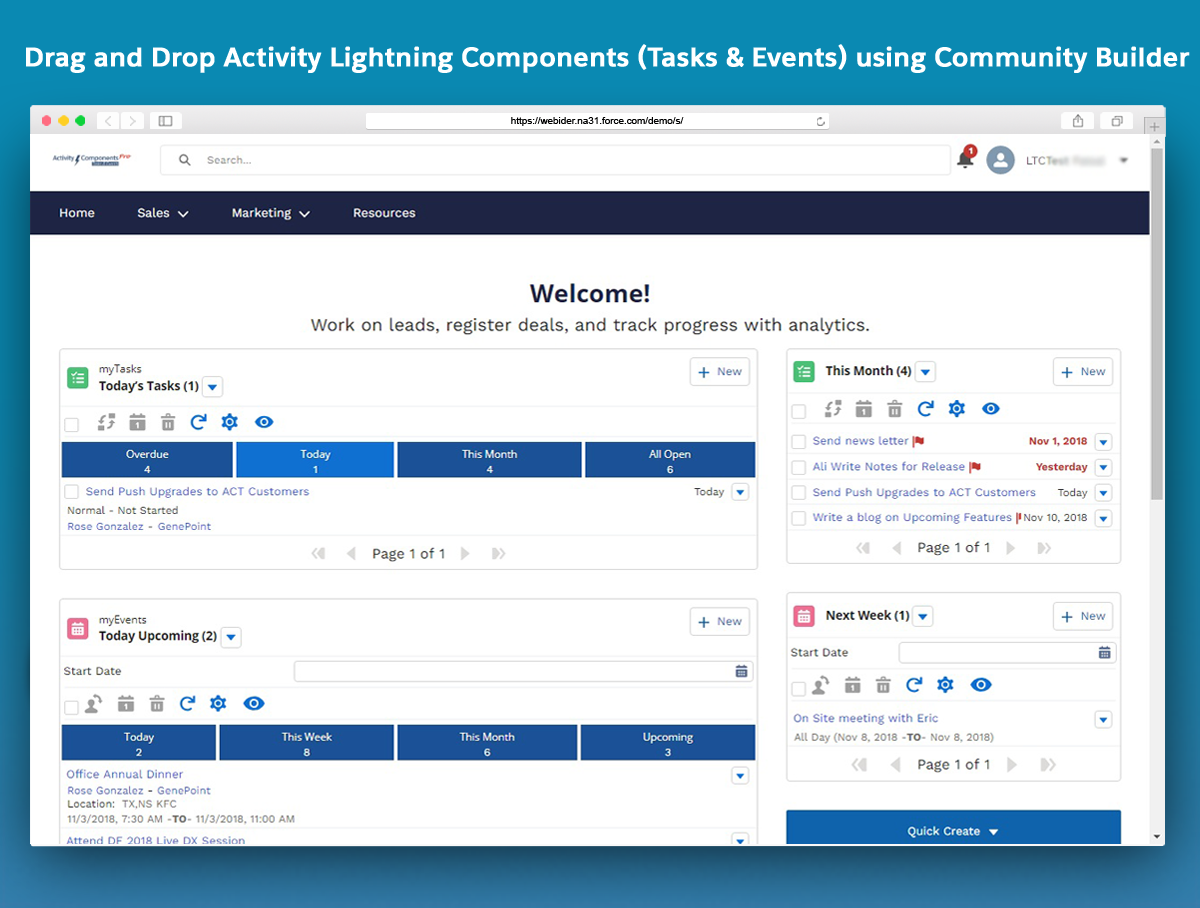 Winter'19 Release Notes - Activity Lightning Components (myTasks